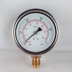 Glycerine filled pressure gauge 1 Bar diameter dn 100mm bottom