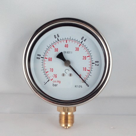 Glycerine filled vacuum gauge -1 Bar diameter dn 100mm bottom