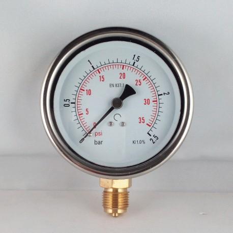 Glycerine filled pressure gauge 2,5 Bar diameter dn 100mm bottom