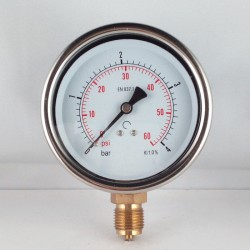 Glycerine filled pressure gauge 4 Bar diameter dn 100mm bottom
