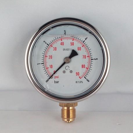 Glycerine filled pressure gauge 6 Bar diameter dn 100mm bottom
