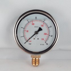Glycerine filled pressure gauge 16 Bar diameter dn 100mm bottom