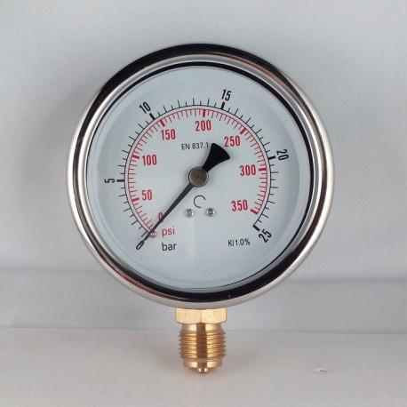 Glycerine filled pressure gauge 25 Bar diameter dn 100mm bottom