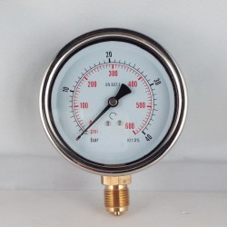 Glycerine filled pressure gauge 40 Bar diameter dn 100mm bottom