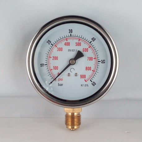 Glycerine filled pressure gauge 60 Bar diameter dn 100mm bottom