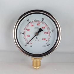 Glycerine filled pressure gauge 100 Bar diameter dn 100mm bottom