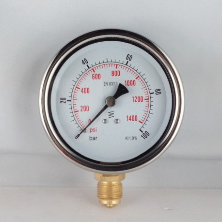 Glycerine filled pressure gauge 100 Bar diameter dn 100mm bottom