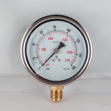 Glycerine filled pressure gauge 160 Bar diameter dn 100mm bottom