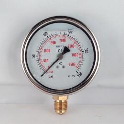 Glycerine filled pressure gauge 250 Bar diameter dn 100mm bottom