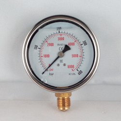 Glycerine filled pressure gauge 400 Bar diameter dn 100mm bottom