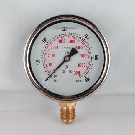 Glycerine filled pressure gauge 600 Bar diameter dn 100mm bottom