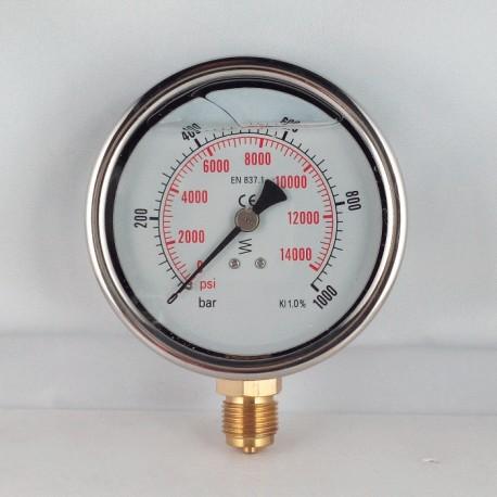 Glycerine filled pressure gauge 1000 Bar diameter dn 100mm bottom