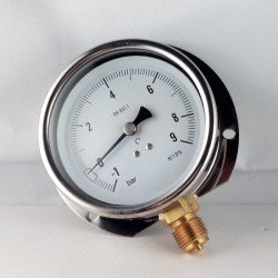 Glycerine filled compound gauge -1+9 Bar wall flange dn 100mm