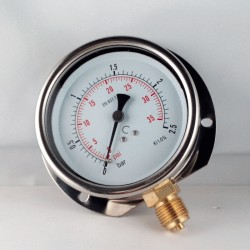 Glycerine filled pressure gauge 2,5 Bar wall flange dn 100mm