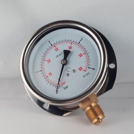 Glycerine filled pressure gauge 4 Bar wall flange dn 100mm