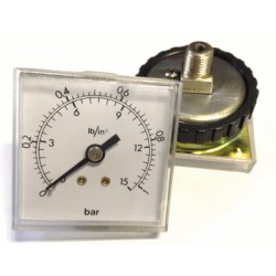 Panel pressure gauge 1 Bar 48x48mm with loking ring
