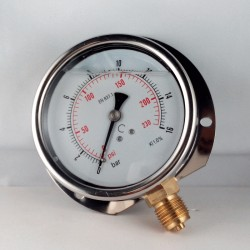 Glycerine filled pressure gauge 16 Bar wall flange dn 100mm