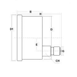Manovuotometro glicerina -1+5 Bar diametro dn 100mm posteriore staffa