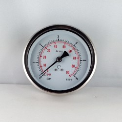 Glycerine filled pressure 6 Bar gauge diameter dn 100mm back