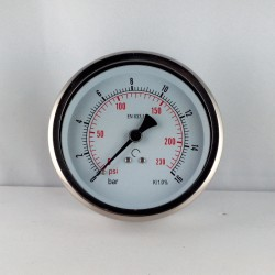 Glycerine filled pressure 16 Bar gauge diameter dn 100mm back