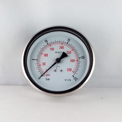 Glycerine filled pressure 25 Bar gauge diameter dn 100mm back