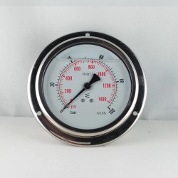Glycerine filled pressure 100 Bar gauge diameter dn 100mm flange