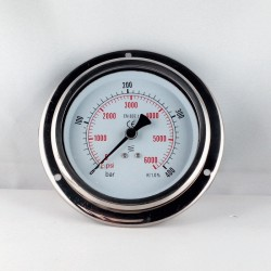 Glycerine filled pressure 400 Bar gauge diameter dn 100mm flange