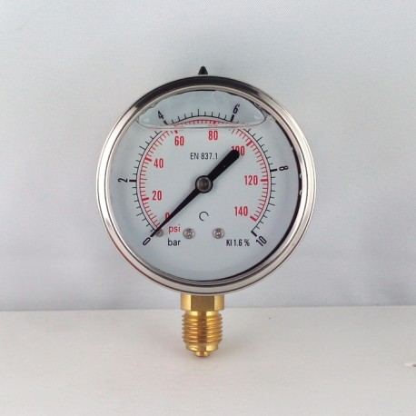 Glycerine filled pressure gauge 10 Bar diameter dn 63mm bottom