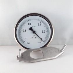 Glycerine filled vacuum gauge -1 Bar diameter dn 100mm u-clamp