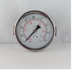 Glycerine filled pressure gauge 1,6 Bar diameter dn 100mm u-clamp