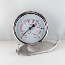 Glycerine filled pressure gauge 6 Bar diameter dn 100mm u-clamp