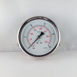 Glycerine filled pressure gauge 25 Bar diameter dn 100mm u-clamp