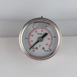 Manometro Inox 10 Bar diametro dn 40mm posteriore