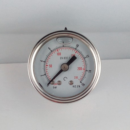 Stainless steel pressure gauge 16 Bar diameter dn 40mm back