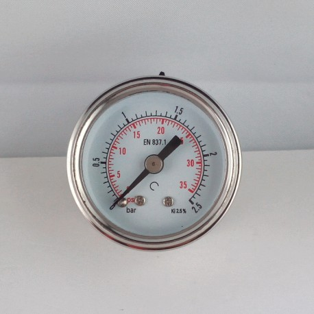 Stainless steel pressure gauge 2,5 Bar diameter dn 40mm back