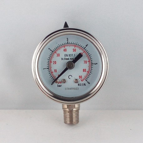 Stainless steel pressur e gauge 6 Bar diameter dn 40mm bottom