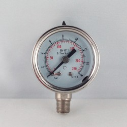 Stainless steel pressur e gauge 16 Bar diameter dn 40mm bottom
