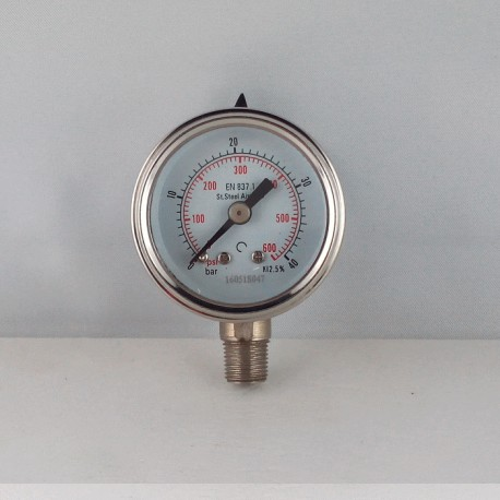 Stainless steel pressur e gauge 40 Bar diameter dn 40mm bottom
