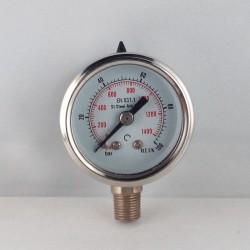 Stainless steel pressur e gauge 100 Bar diameter dn 40mm bottom