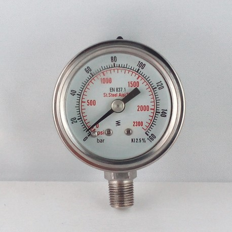 Stainless steel pressur e gauge 160 Bar diameter dn 40mm bottom