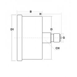 Stainless steel pressure gauge 16 Bar diameter dn 50mm back