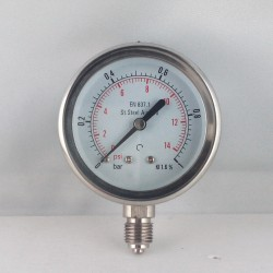 Stainless steel pressure gauge 1 Bar diameter dn 63mm bottom