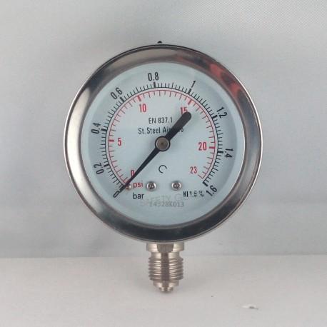 Stainless steel pressure gauge 1,6 Bar diameter dn 63mm bottom