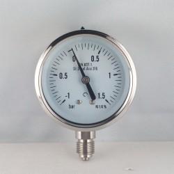 Stainless steel compuond gauge -1+1,5 Bar diameter dn 63mm bottom
