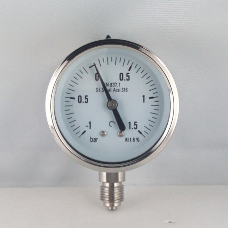 Stainless steel vacuum gauge -1+1,5 Bar diameter dn 63mm bottom