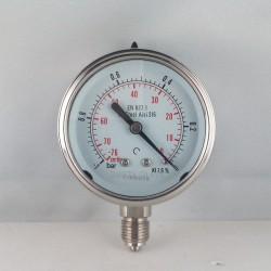 Stainless steel vacuum gauge -1 Bar diameter dn 63mm bottom
