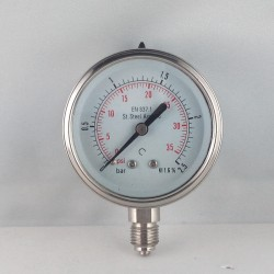 Stainless steel pressure gauge 2,5 Bar diameter dn 63mm bottom