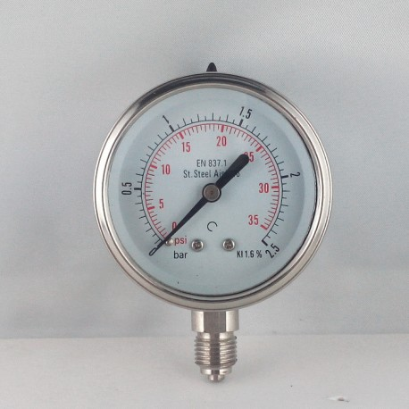 Stainless steel pressure gauge 2,5 Bar diameter dn 63mm bottom