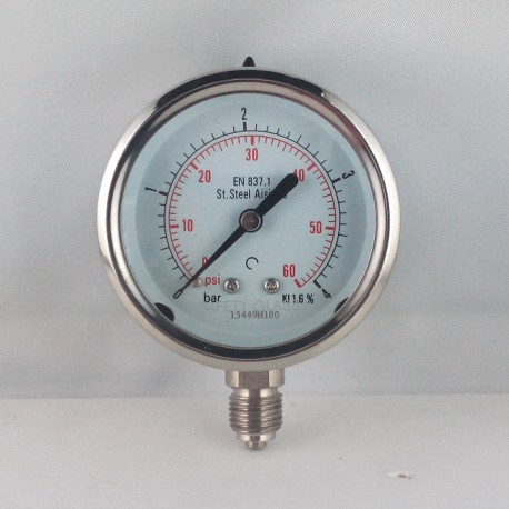 Stainless steel pressure gauge 4 Bar diameter dn 63mm bottom