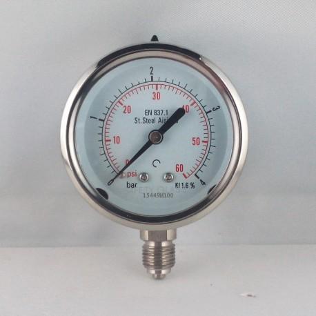 Stainless steel pressure gauge 4 Bar diameter dn 63mm bottom